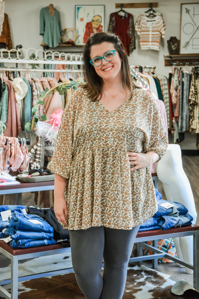 Floral Tunic Top - Adorn Boutique in Mitchell