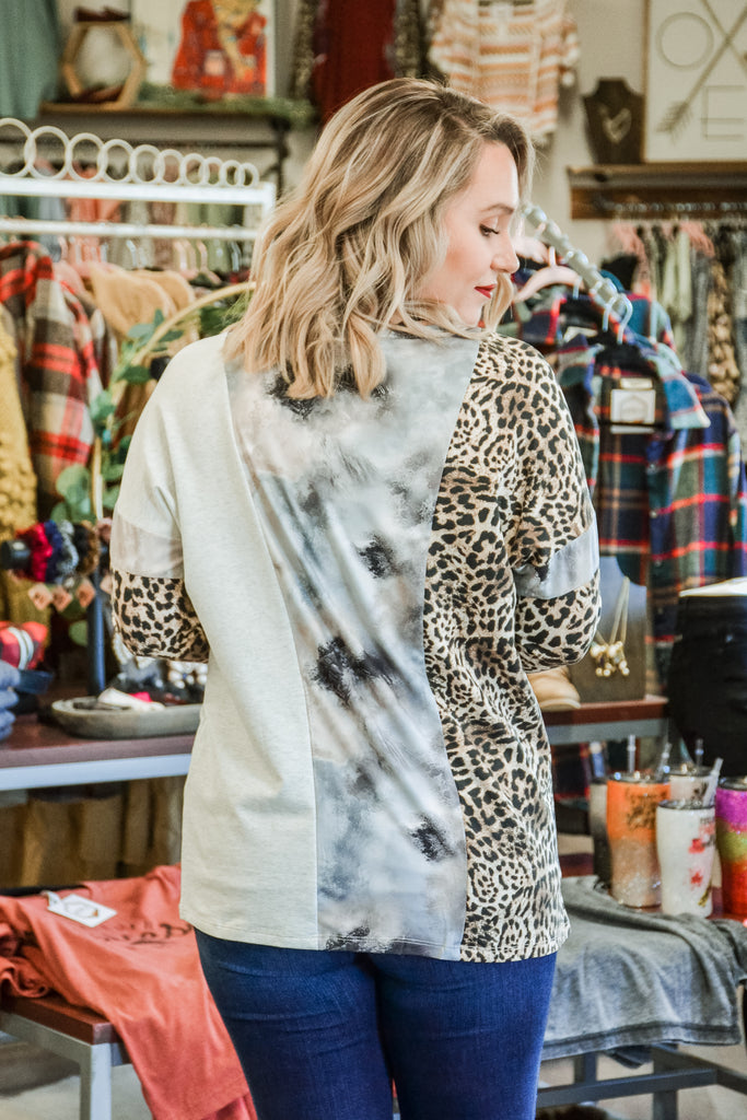 Leopard/Tie Dye Knit top - Adorn Boutique in Mitchell