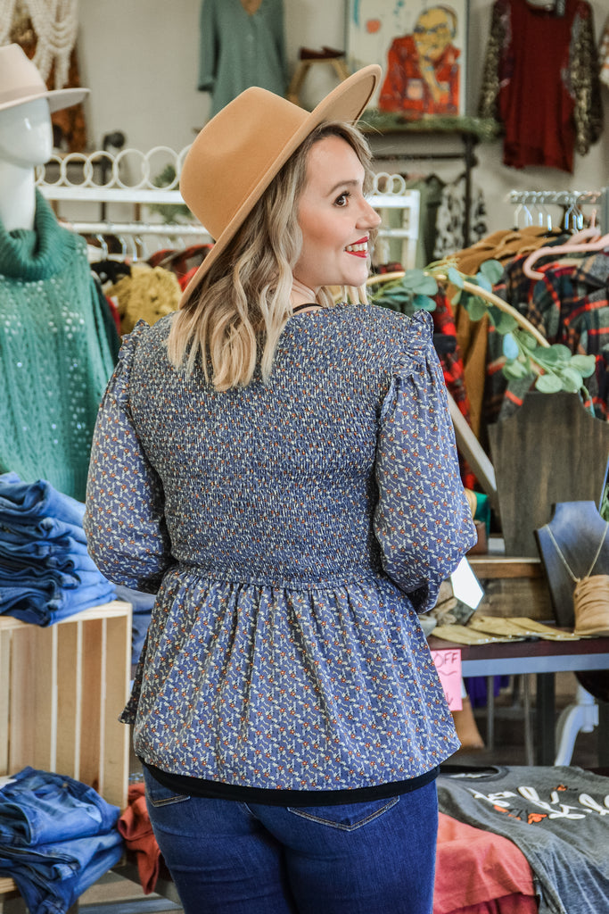 Smock Ruffle Sleeve Peplum - Adorn Boutique in Mitchell