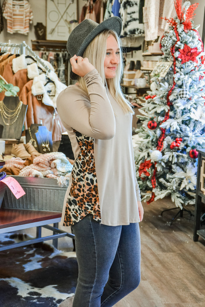 (More Colors) Cheetah Side Panel Long Sleeve - Adorn Boutique in Mitchell