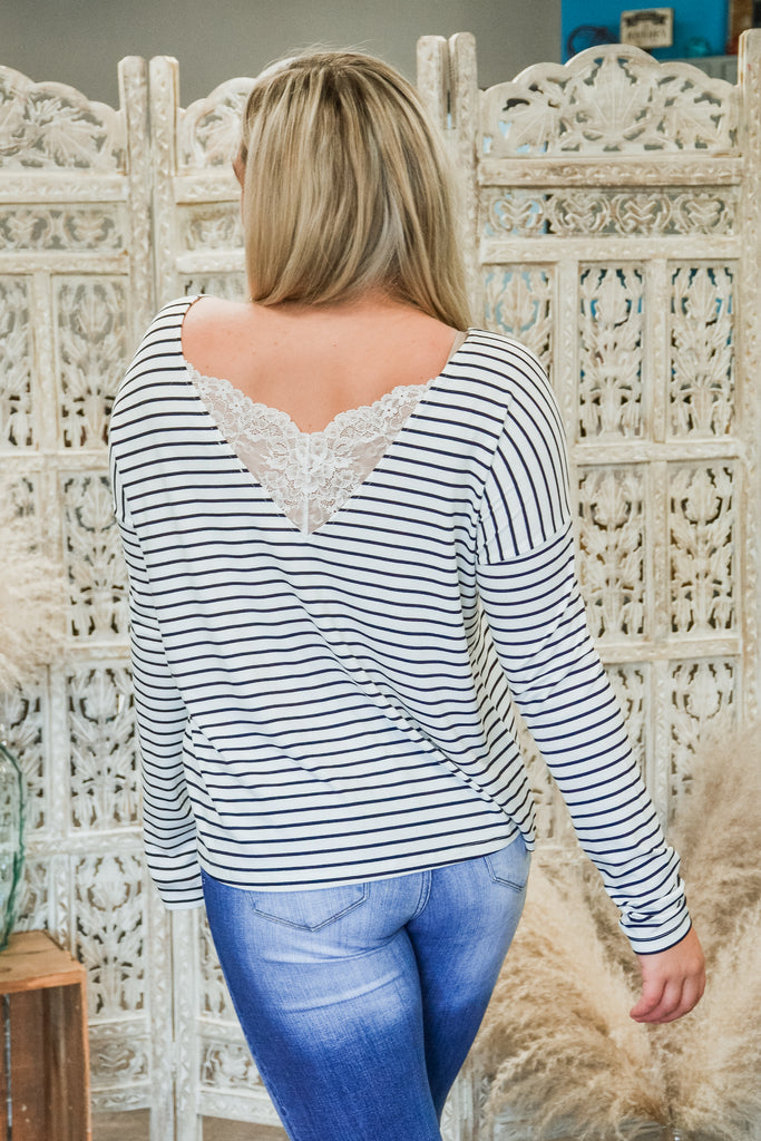 Lace Back Stripe Top - Adorn Boutique in Mitchell