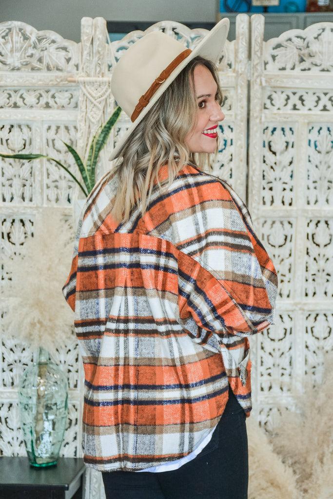 Plaid Button Up Shacket - Adorn Boutique in Mitchell