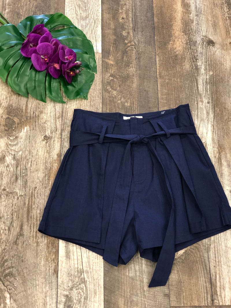 Linen Textured Belted Shorts