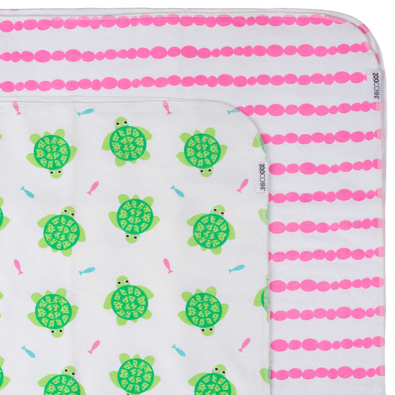 Flannel Receiving Blanket 2pk - Turtle/Rose