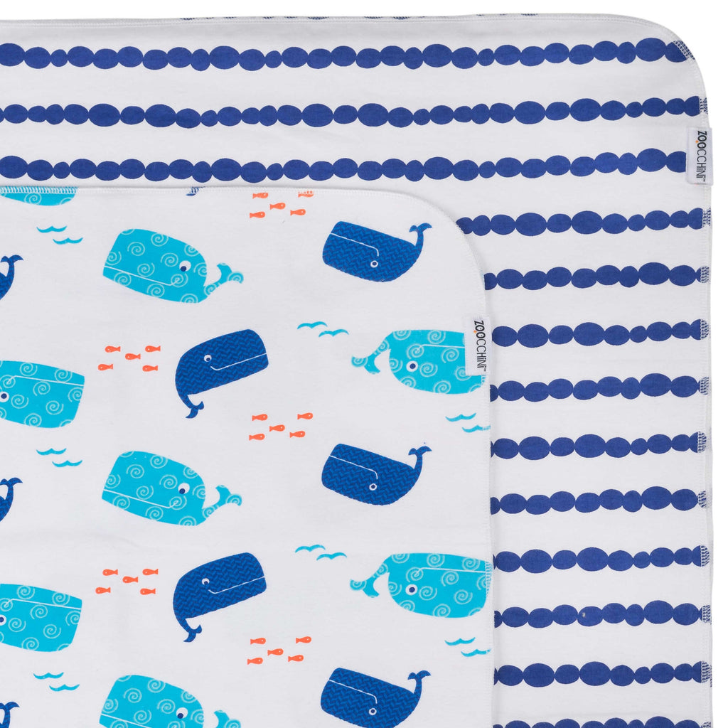 Flannel Receiving Blanket 2pk - Whale/Blue