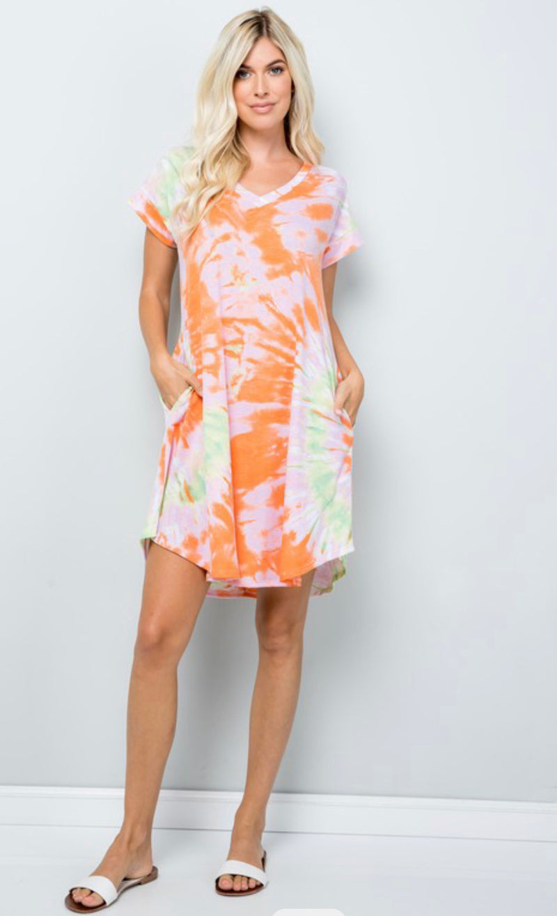 Pink/Orange Tie Dye Dress