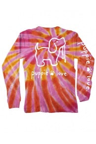 Pink/ Orange Tie- Dye Puppie Love LS ADULT
