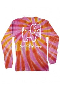 Orange/Pink Tie Dye Puppie Love LS KIDS