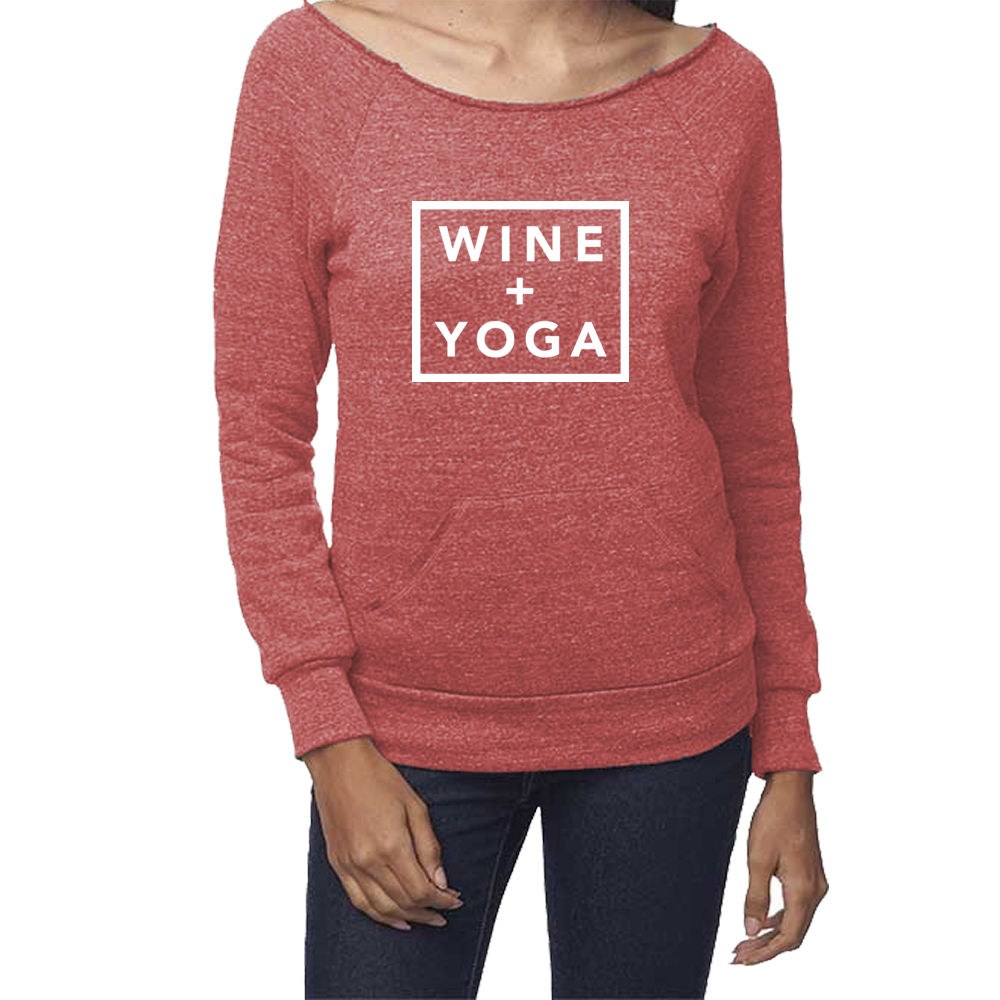 Wine + Yoga Tri-Blend Fleece Raglan