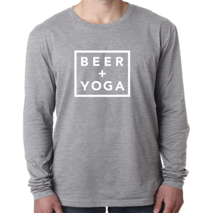 Beer + Yoga Unisex Tri-Blend Long Sleeve Tee
