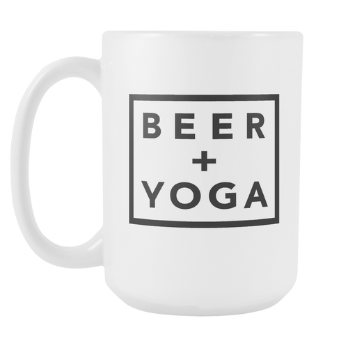 Beer + Yoga Mug - White