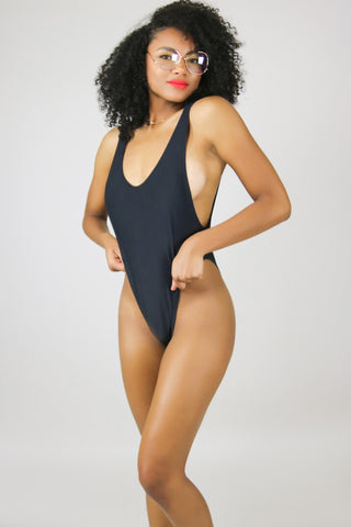 Black Low Leg High Side Swimsuit