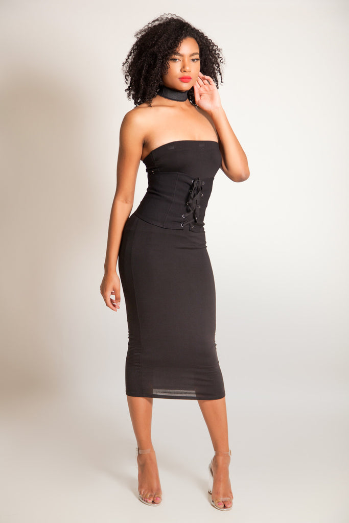Strapless Bandage Bodycon Dress Black