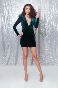 High Demand Deep V Velvet Dress