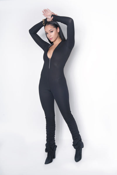 Black Ribbed Bodycon Jumpsuit