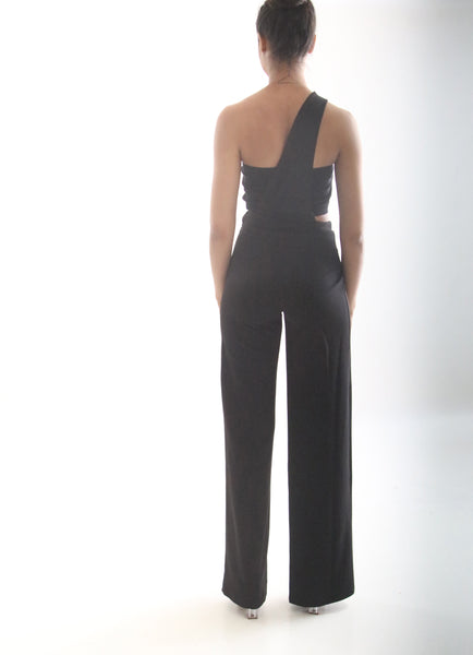 Black One Shoulder Split Jumpsuit