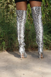 Strictly Off Snakeskin Knee High Boots