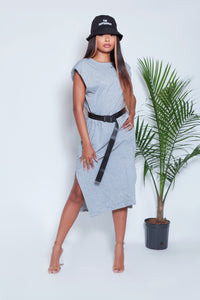 High Shoulder Midi Dress- Gray