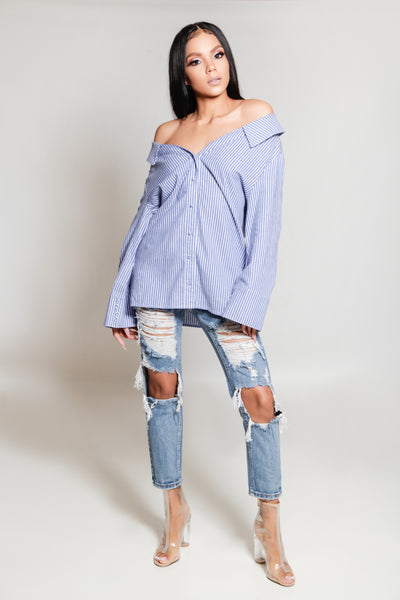 Pin Stripe Off Shoulder Top