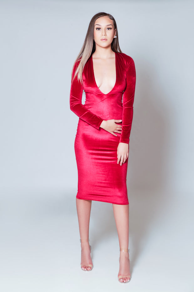 Red Velvet Deep V Bodycon Dress