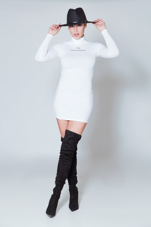 The Difference Turtle Neck Dress- White