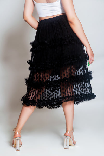 Fancy Mesh Polda Dot Skirt