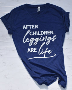 After Children Leggings are Life Navy T-Shirt