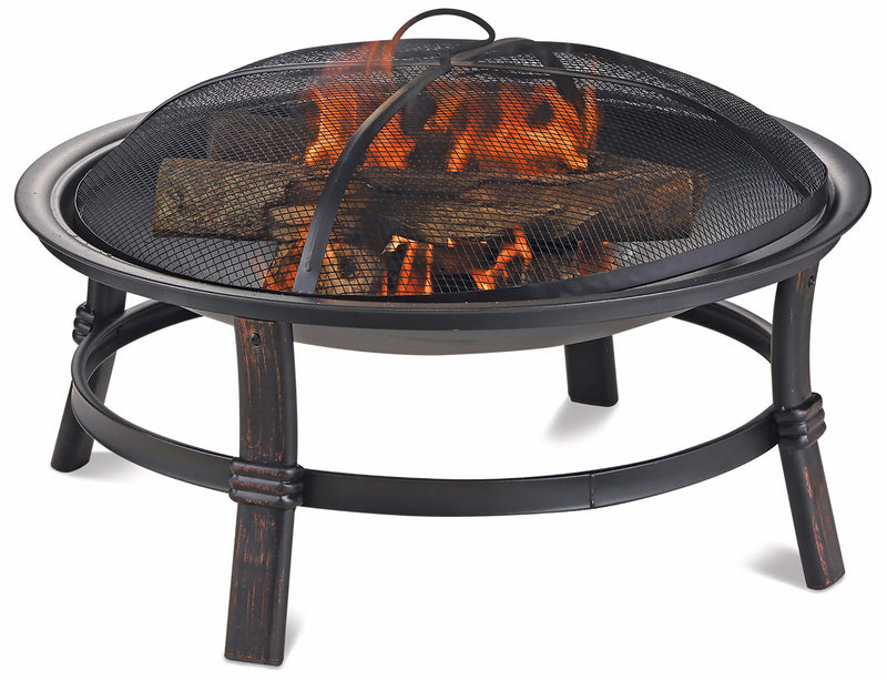 BRUSHED COPPER WOOD BURNING OUTDOOR FIRE BOWL
