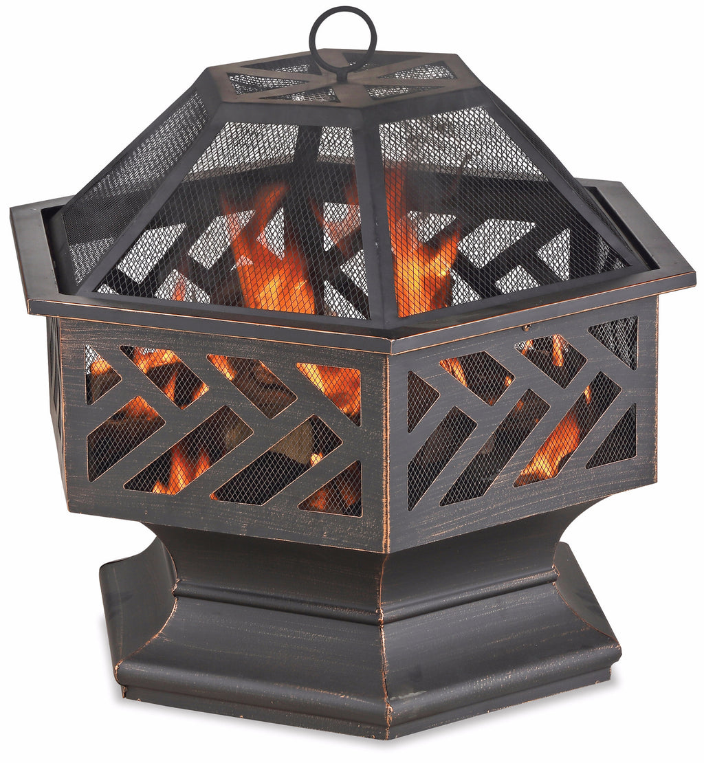OIL RUBBED BRONZE WOOD BURNING OUTDOOR FIRE BOWL WITH GEOMETRIC DESIGN