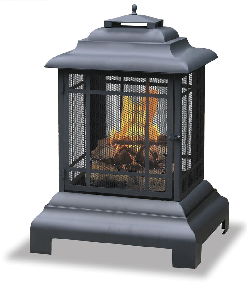 Black Wood Burning Outdoor Firehouse