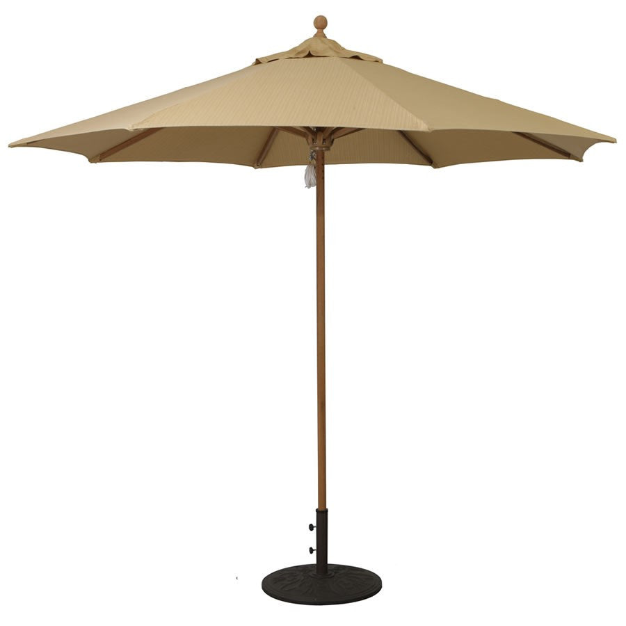 Galtech International 9' Teak 4 Pulley Single Pole Umbrella