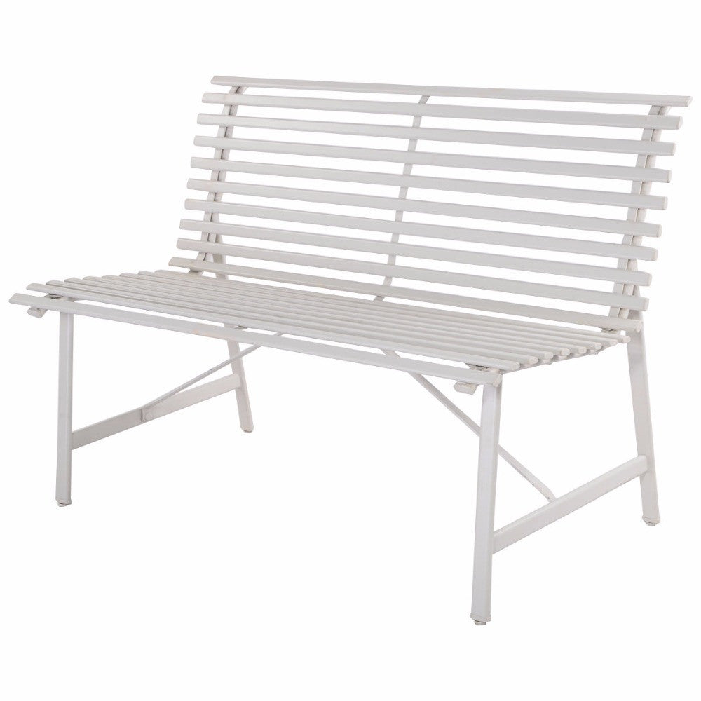Gray Steel Garden Bench Outdoor Backyard Lawn Slat Back Seat Furniture  HW51788