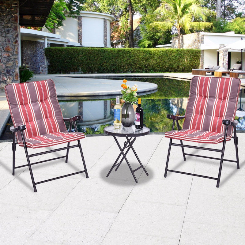 Patio 3 Pcs Outdoor Folding Chairs Table Set Furniture Garden With Cushions HW51793+