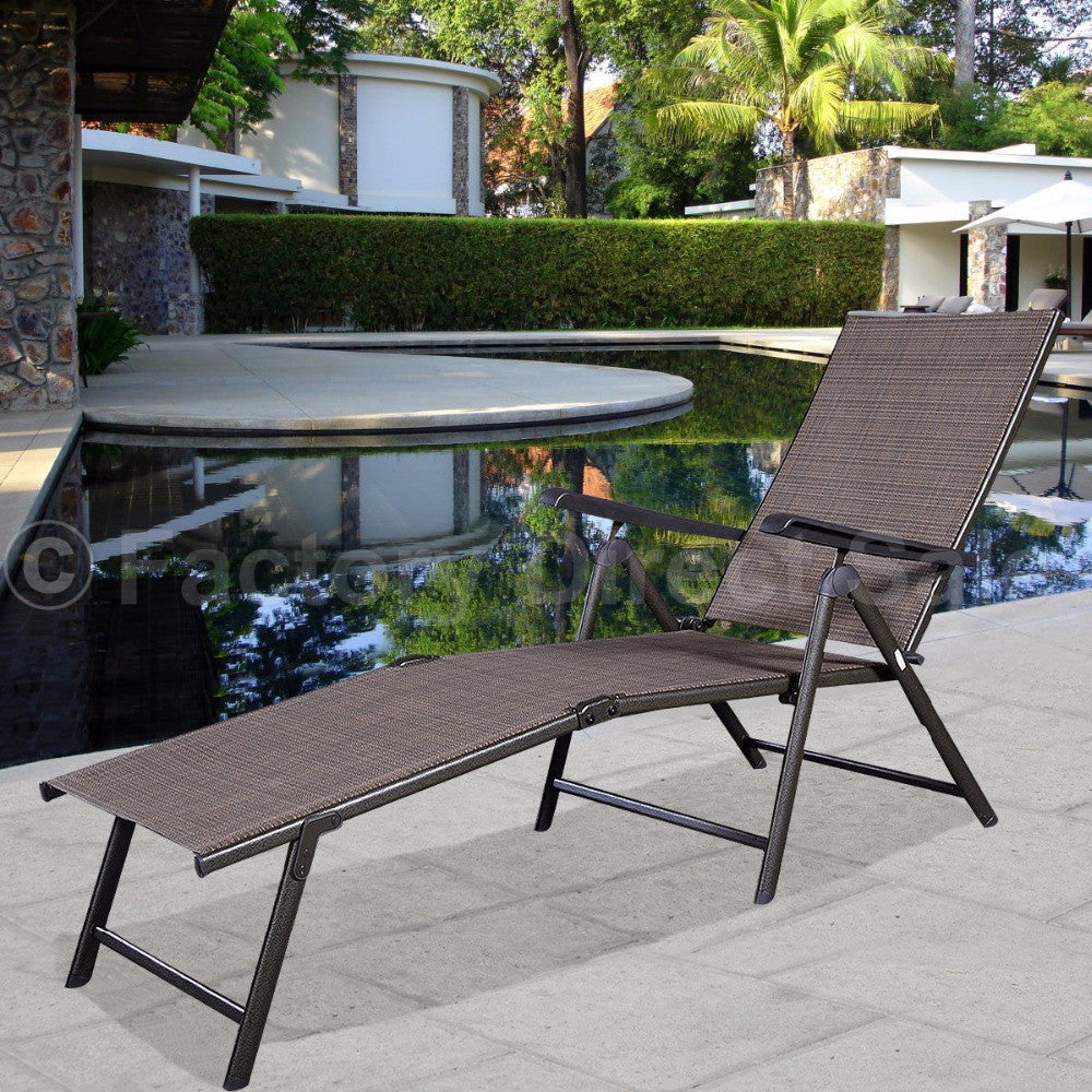 Pool Chaise Lounge Chair Recliner Outdoor Patio Furniture  Adjustable HW49889