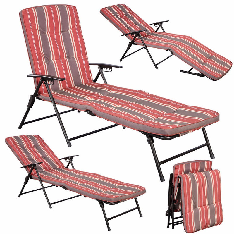 Red White Stripe Folding Lounger Patio Outdoor Chaise Cushions Pool Side Recline  HW51794