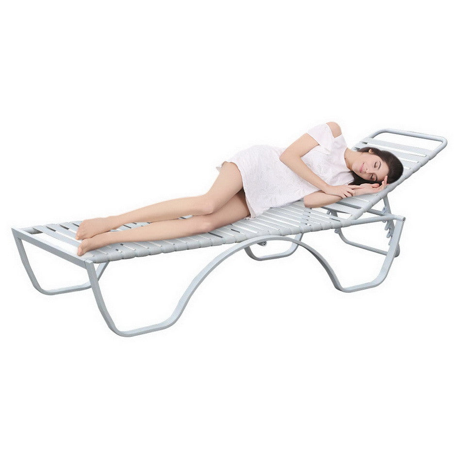 Homdox Adjustment Steel Frame Plate and Strip Lounge Chair Outdoor Garden Patio Chair White