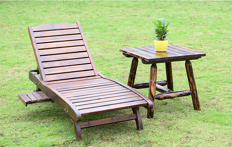 Wood Sun Lounger with Adjustable Back and Side Tray Set Outdoor Furniture Modern Garden Patio Beach Sun Bed Lounger Chaise Chair