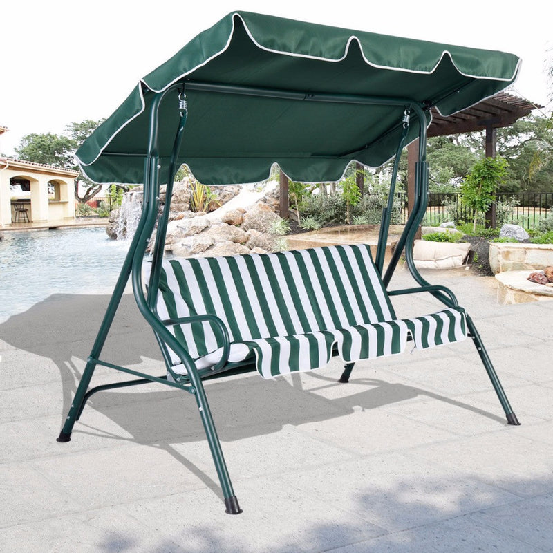 3 Person Patio Swing Outdoor Canopy Awning Yard Furniture Hammock Steel Green OP2573*FDS