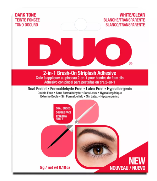 DUO Eyelash Glue 2-in-1 Brush-On Striplash Adhesive (Red) - Clear & Dark