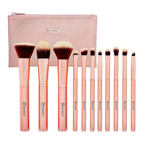 BH Metal Rose 11 Piece Brush Set With Cosmetic Bag