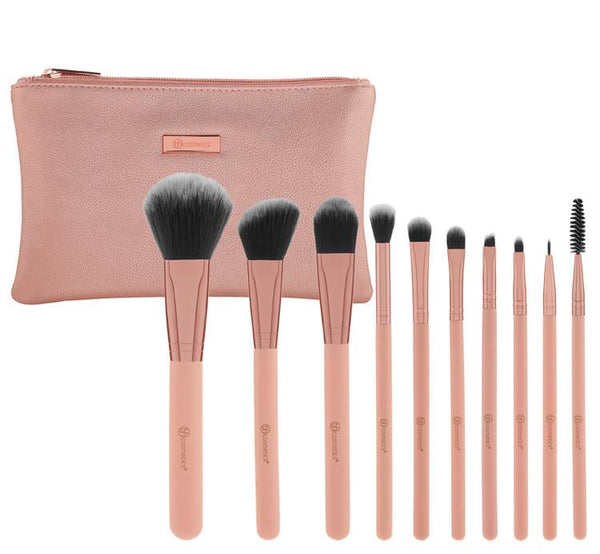 BH Pretty in Pink 10 Piece Brush Set with Cosmetic Bag