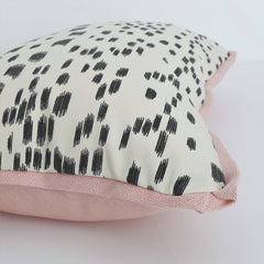 Les Touches Black pillow with pink linen butterfly flange by Stuck on Hue