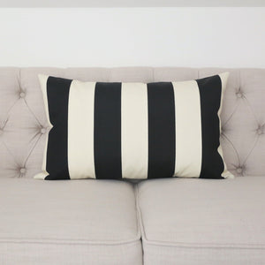 READY TO SHIP - Cabana Stripe Black & Ivory Outdoor 15x24