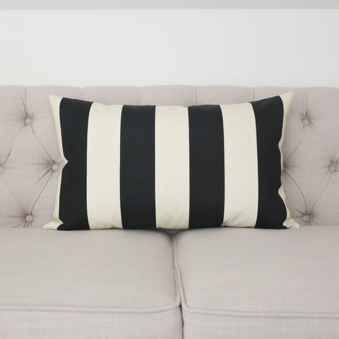 READY TO SHIP - Cabana Stripe Black & Ivory Outdoor 15x24 (with insert)