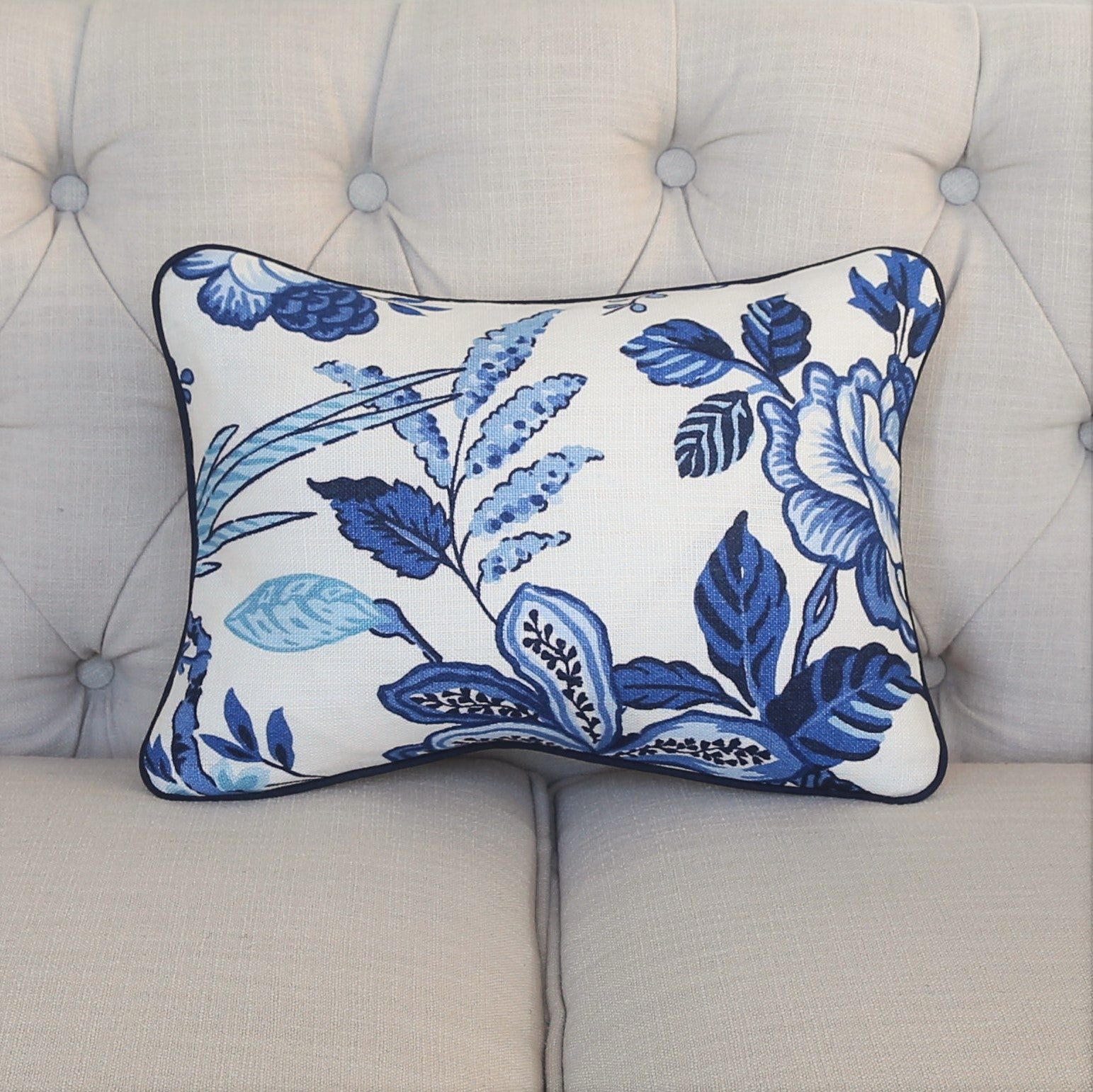 READY TO SHIP - Huntington Gardens Bleu Marine with Navy Piping 11x15
