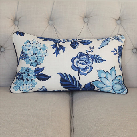 READY TO SHIP - Huntington Gardens Bleu Marine with Navy Piping 11x19