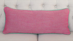 READY TO SHIP - Linen Canvas Fuchsia with Kelly Green Piping 12.5x29 (with insert)