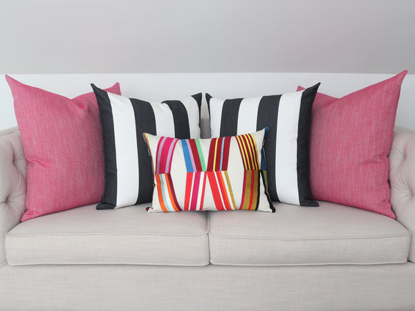 READY TO SHIP - Cabana Stripe Black & White Indoor/Outdoor 22x22 (Pair)