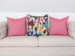 READY TO SHIP - Linen Canvas Fuchsia 24x24 (Pair)