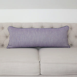 READY TO SHIP - Linen Canvas Violet with Navy Piping 13x33